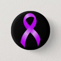 Hodgkins Lymphoma Violet Ribbon Pinback Button