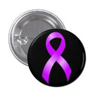 Hodgkins Lymphoma Violet Ribbon Pinback Button