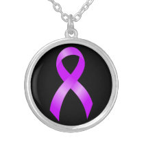 Hodgkins Lymphoma Violet Ribbon Silver Plated Necklace