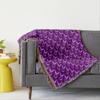 Hodgkins Lymphoma Violet Ribbon Throw Blanket
