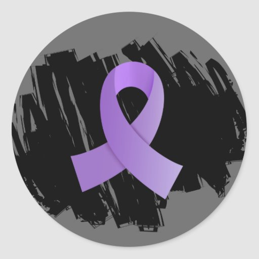 Hodgkin's Lymphoma Violet Ribbon With Scribble Sticker