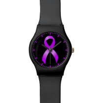 Hodgkins Lymphoma Violet Ribbon Wrist Watch