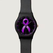 Hodgkins Lymphoma Violet Ribbon Wrist Watch
