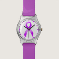 Hodgkins Lymphoma Violet Ribbon Wristwatch