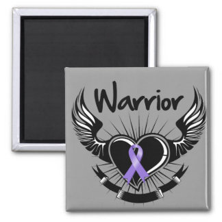 Hodgkins Lymphoma Warrior Fighter Wings 2 Inch Square Magnet