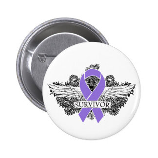 Hodgkins Lymphoma Winged SURVIVOR Ribbon 2 Inch Round Button
