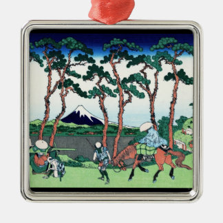 Hodogaya en el Tokaido Katsushika Hokusai Adorno Navideño Cuadrado De Metal