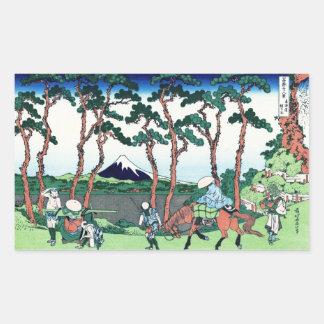 Hodogaya en el Tokaido Katsushika Hokusai Pegatina Rectangular