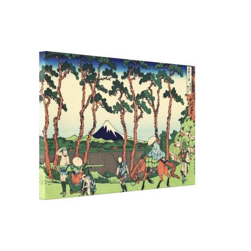 Hodogaya en el Tokaido por Hokusai Impresión En Lona
