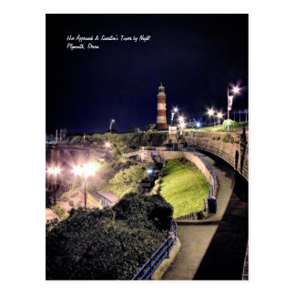 Hoe Approach and Smeaton's Tower by Night Postcard