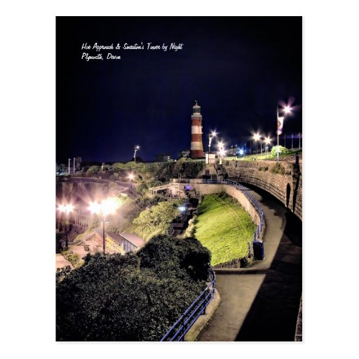Hoe Approach and Smeaton's Tower by Night Postcards