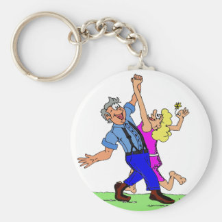 Hoe Down Square Dancers Keychain