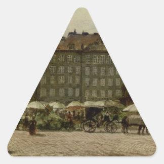 Hof Church in Vienna by Rudolf von Alt Triangle Sticker