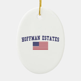Hoffman Estates US Flag Ceramic Ornament