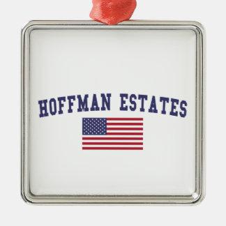 Hoffman Estates US Flag Metal Ornament
