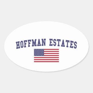 Hoffman Estates US Flag Oval Sticker