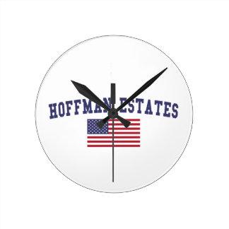 Hoffman Estates US Flag Round Clock