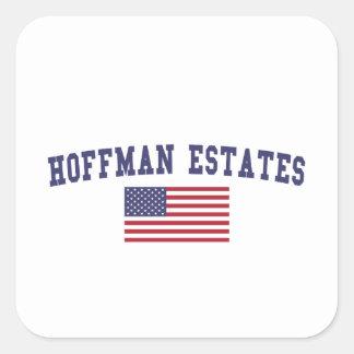 Hoffman Estates US Flag Square Sticker