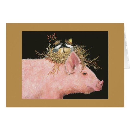 hog and chickadee friends card