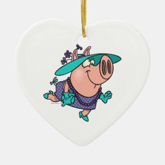 hog en un dibujo animado guarro lindo de la señora adorno navideño de cerámica en forma de corazón