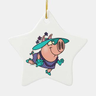 hog en un dibujo animado guarro lindo de la señora adorno navideño de cerámica en forma de estrella