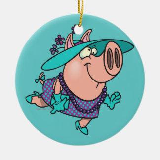 hog en un dibujo animado guarro lindo de la señora adorno navideño redondo de cerámica