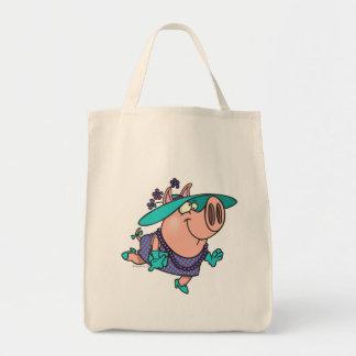 hog en un dibujo animado guarro lindo de la señora bolsa tela para la compra