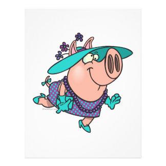 "hog en un dibujo animado guarro lindo de la señora folleto 8.5"" x 11"""