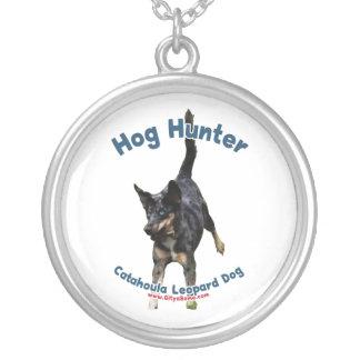 Hog Hunter Catahoula Dog Round Pendant Necklace
