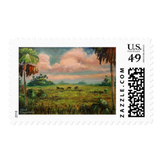 Hog Hunting in Florida Postage Stamp