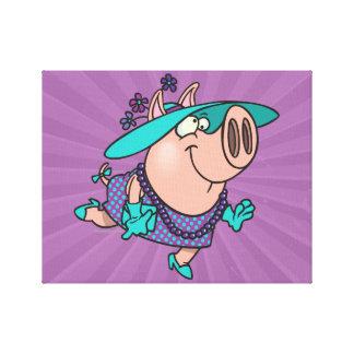 hog in a hat lady cute piggy cartoon gallery wrap canvas