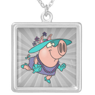 hog in a hat lady cute piggy cartoon square pendant necklace