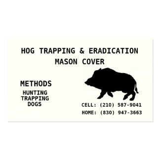 HOG TRAPPING & ERADICATION Double-Sided STANDARD BUSINESS CARDS (Pack OF 100)