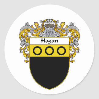 Hogan Coat of Arms (Mantled) Classic Round Sticker