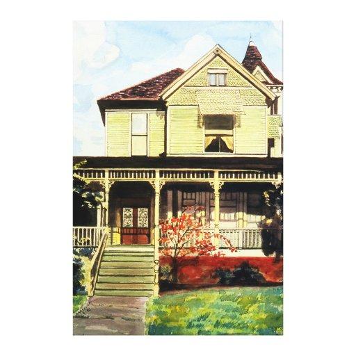Hogar 1896 del Victorian en el bulevar de las altu Lona Estirada Galerias