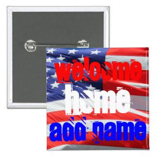 Hogar agradable, colores de la bandera americana pin cuadrado
