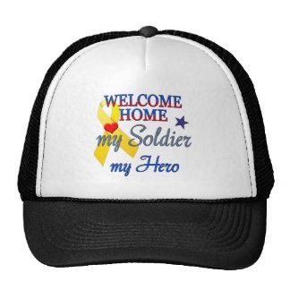 Hogar agradable mi soldado mi héroe gorros bordados