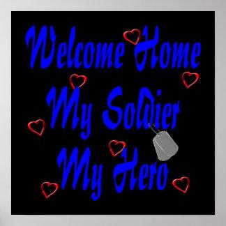 Hogar agradable mi soldado mi héroe póster