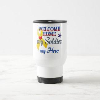 Hogar agradable mi soldado mi héroe tazas de café