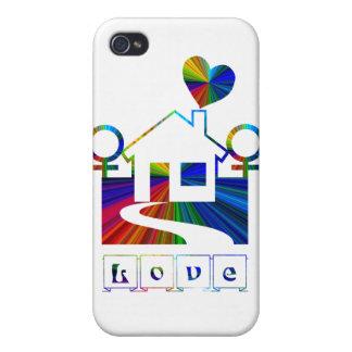 Hogar-AMOR lesbiano del arco iris iPhone 4/4S Carcasa