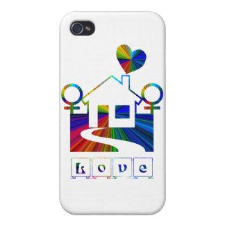 Hogar-AMOR lesbiano del arco iris iPhone 4 Funda