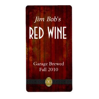 Hogar apenado del rojo rico hecho etiquetas del vi etiqueta de envío
