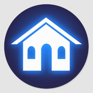 hogar azul del resplandor pegatina redonda