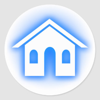 hogar azul del resplandor etiquetas redondas