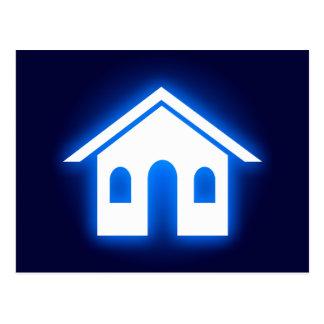 hogar azul del resplandor tarjeta postal