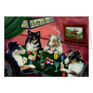 Hogar de australianos 4 perros que juegan la tarjeta de felicitación