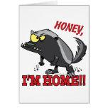 hogar de la miel im del tejón de miel tarjeta de felicitación