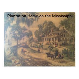 Hogar de la plantación en el río Misisipi. Postales