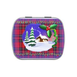 Hogar de la tela escocesa del navidad y lata del c jarrones de caramelos