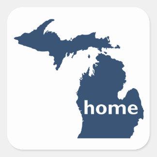 Hogar de Michigan Pegatina Cuadrada